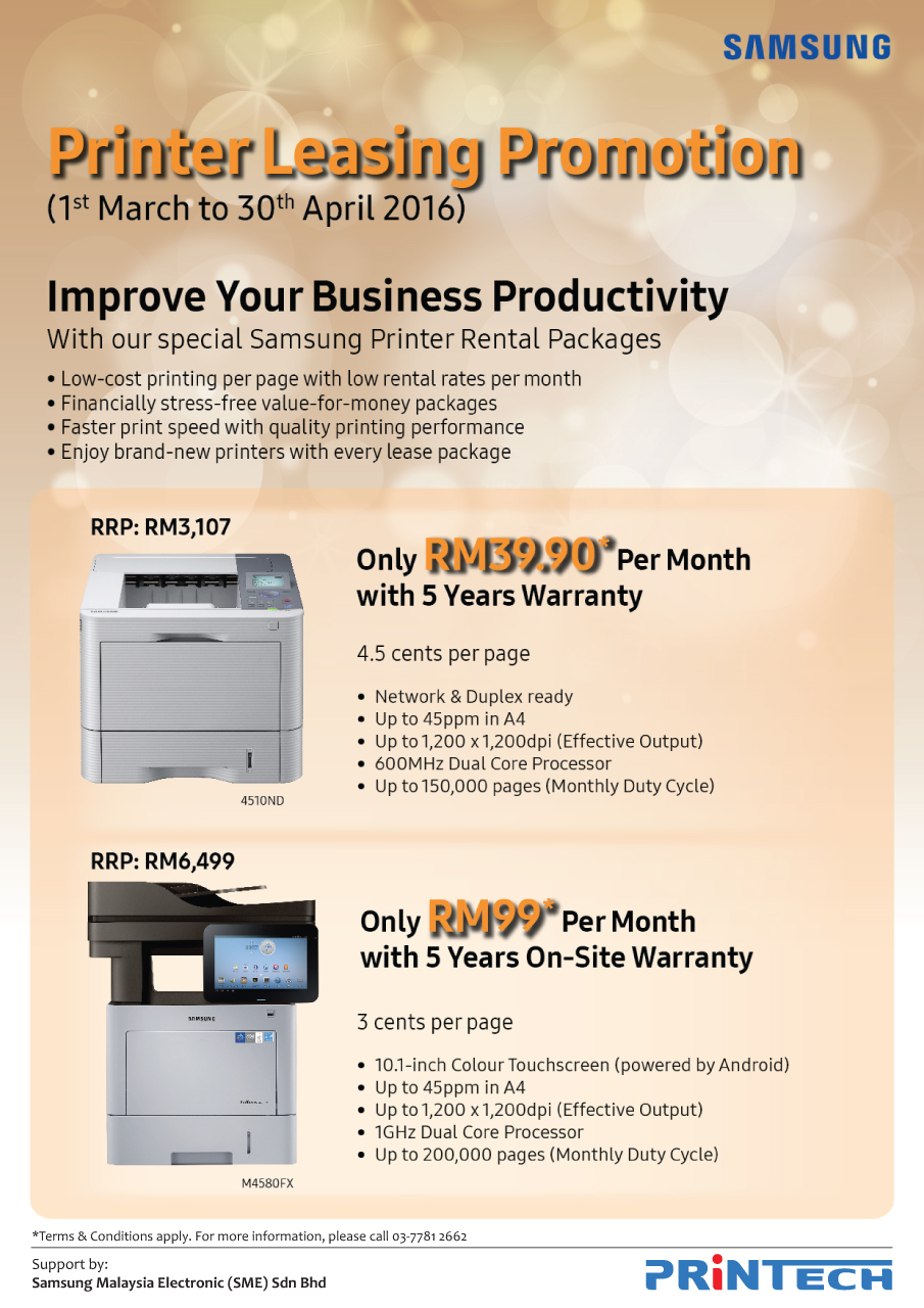 Samsung Printer Leasing Promotion